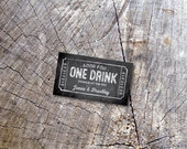 50 Chalkboard Wedding Drink Tickets - Redeem for a Drink Coupon - Party Bar Tickets - Paper Nickel - Chalk Admit one Drink Token - Rectangle