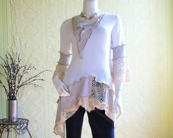 Size Small  (6/8) Tunic Top/ Off White/Khaki/Ecru/Lace and Thermal Knit
