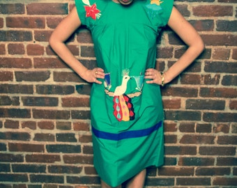 Vintage 70s Green Mexican Hippie Dress