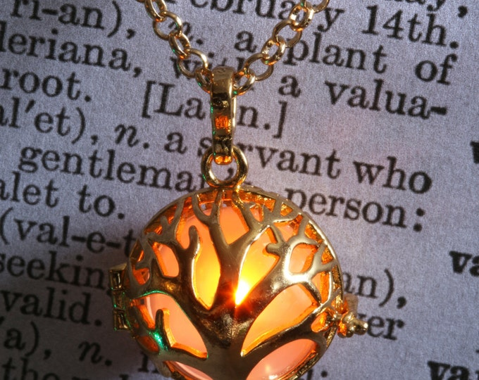 Glowing tree of life pendant glowing tree necklace glowing tree locket - Golden locket with glowing Orb - Valentine Gift for her - Orange