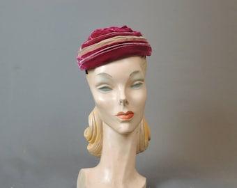 1960s Dark Pink and Tan Gathered Velvet Hat, Vintage Hat 21 inch head,
