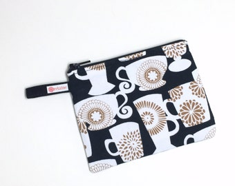Coffee cup zip pouch.  Zipper pouch.  Small zip pouch.  Coin purse.  Card holder.  Small wallet.  Gift card holder.  Business card holder.
