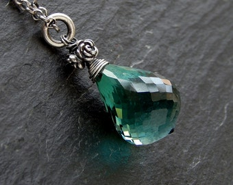 Green Amethyst Briolette Pendant: Sterling slver, lab-grown green amethyst, 20x13mm teardrop gemstone, rose rondelle, 18 inch rolo chain