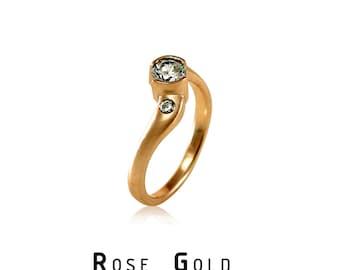 5mm Forever Brilliant Moissanite Engagement Ring Rose Gold, Rose Gold Engagement Ring, or Palladium ,  Yellow Gold, Moissanite Bezel Ring