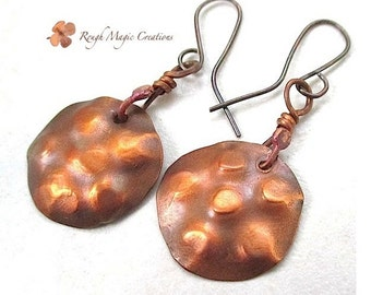 Hammered Copper Earrings Large Dangles, Primitive Rustic Jewelry, Gift for Women, Copper Patina Earrings, Boho Gift for Women, Disc Earrings