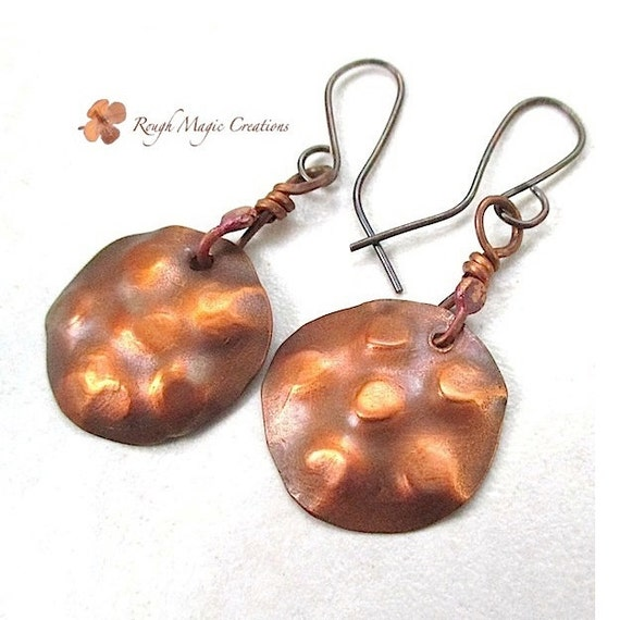 Hammered Copper Earrings Large Dangles, Primitive Rustic Jewelry, Gift for Women, Copper Patina Disk Earrings, Boho Gift for Women SP573
