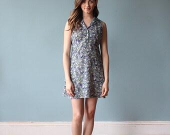 spring dress / floral 90s sleeveless dress / 1990s / small - medium