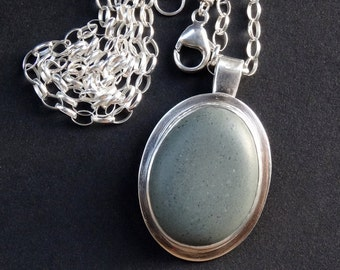 Elegant Oval Sea Stone Torrey Pines Blue Green Gray Sterling Pendant