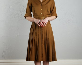 SALE- Vintage Shirtwaist Dress . Rich Brown