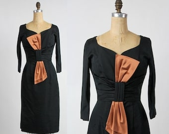 SALE- 1960s Satin LBD . Black Wiggle Dress .