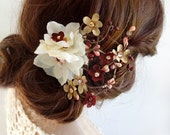 burgundy and gold wedding hair clip, burgundy hair flower, Swarovski crystal accents, elegant hair accessories, fall hair clips, floral