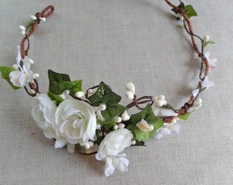 ivy crown, leaf crown, ivy flower crown, bridal flower crown, ivy leaves hair accessories, flower crown wedding, ranunculus flower headband
