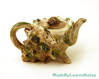 Vintage 1970s Conch Shell Tea Pot | Mermaid Sculpture Teapot Footed Pitcher Nautical Beach Life Ocean Sea | HOUSEWARES vtg | FOUND by LB