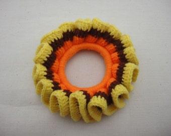 BUY 1 FREE 1 - Crochet Scrunchies - Orange, Brown and Yellow (SC1)