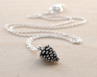 Delicate Silver Pine Cone Necklace   Pinecone Necklace   Silver Forest Pine Cone Charm   Pine Cone Pendant