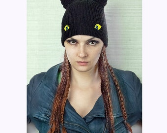 The Black Bat Cat Monster Hat With Ears and Eyes