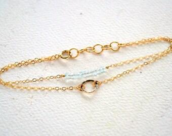 Born to Shine Bracelet - birthstone bracelet, double bracelet, circle charm bracelet, birthstone jewelry, boho modern minimalist jewelry B16