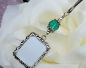 Wedding bouquet photo charm w/ emerald green crystal.Small picture frame charm for a Brides bouquet.Memorial photo charm.Bridal shower gift.