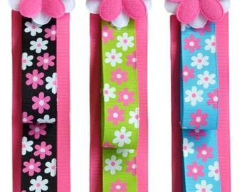 HEADBAND HOLDER Wall Hanging Display Funky Flowers Ribbon and FELT Flower