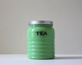 Jadeite Tea Canister, Jeannette Glass, Vintage Kitchenware, County Cottage Decor, Jadite Green Glass