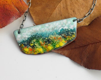 Bar Pendant Copper Enameled, Long Necklace to Layer, Yellow Fields Landscape #3, Original Vitreous Enamel, Nature Lover Gift, Ready to Ship