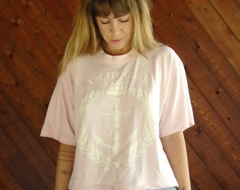 Oversized YACHT CLUB Pink Crop Tee - Vtg 80s 90s - M/L