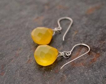 Yellow Chalcedony Earrings