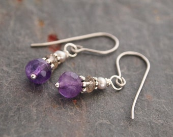 Pearl, Smoky Quartz and Amethyst Earrings