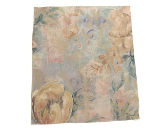 "13"" x 11.5"" Vintage Piece of Textured Scrap Mystery Blend Fabric - Faded Brown/Pink/Blue-Green Watercolour Wash Silky Floral Print"