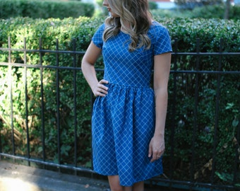 Blue Plaid Dress, Grid Print Fitted Dress, Vintage Inspired Dress from the 1950's, Short Sleeve Knee Length Blue Dress