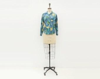 sale 1960s Floral Blouse Cotton Button Down Blue Floral Blouse Cobalt Mustard Long Sleeve Blouse small
