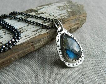 Blue Gray Labradorite Pendant--Gem & Sterling Silver Bezel Set Rose Cut Gem Necklace-Handmade Artisan Jewelry