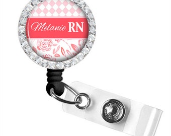 Pink and Melon Floral ID Badge, Nurse Retractable Badge Reel, Personalized Badge Reel (651)