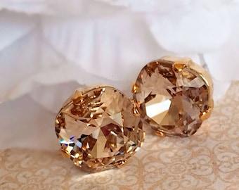 Art Deco Earrings - Champagne - Swarovski Crystal Earrings - JOLIE Palest Champagne
