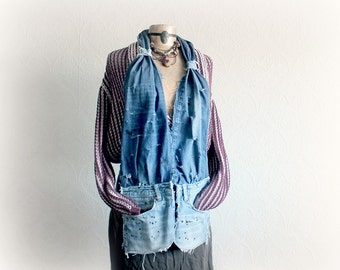 Wearable Art Scarf Distressed Denim Country Western Long Scarf Pockets Up Cycyled Clothing Women's Funky Scarf Boho Chic Accessory 'HANNAH'