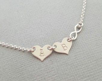 Infinity Bracelet Heart Bracelet initial bracelet hand stamped jewelry sterling silver bracelet personalized gift