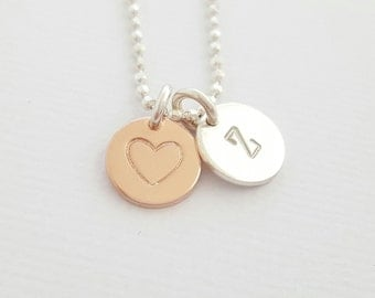 Rose Gold and Silver Necklace Personalised Initial Necklace mixed metal necklace hand stamped gift for mum