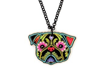 Pug in Black - Day of the Dead Sugar Skull Dog Necklace