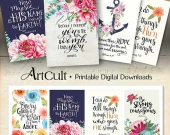 """Printable download BIBLE VERSES TAGS No.10 Scripture Art 2.5""""x3.5"""" size hang tags digital collage sheet greeting cards ArtCult designs"""