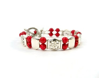Red and Silver Cuff Bracelet, Double Strand, Red Women's Bracelet, Hummingbird Charm