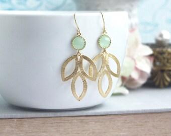 Gold Dangle Earrings, Marquise Drops Mint Earrings Mint Wedding Minimalist Earrings Bridesmaids Gift Mint and Gold Earrings Bridal Earrings