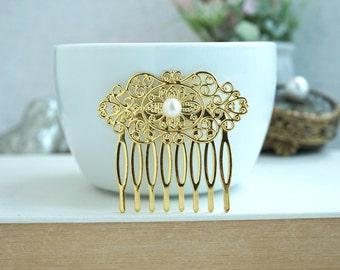 FreshWater Pearl Comb, Pearl Gold Comb, Pearl Wedding Comb, Art Deco Gold Comb, Bridesmaids Gifts. Gold Filigree Haircomb, Gold Bridal Comb