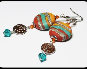 Painted Desert... Handmade Jewelry Earrings Beaded Lampwork Crystal Southwest Turquoise Aqua Orange Rust Terra Cotta Silver Dangle Long
