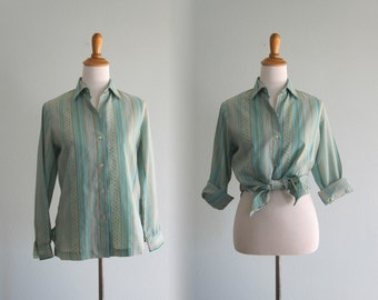 Vintage Alex Coleman Shirt - 70s Pretty Sage Green Mod Print Blouse - Vintage 1970s Shirt M L