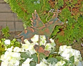 German Shepherd Pet Grave Marker / Metal Garden Art / Pet Memorial / Angel Dog / Copper Art / Garden Plant Stake / Dog Memorial Sign