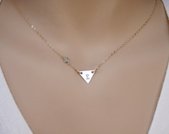 Gold initial necklace - Gold Triangle necklace - Tiny genuine birthstone necklace - Photo NOT actual size