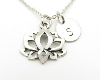 Lotus Flower Necklace, Water Lily Necklace, Sacred Lotus, Antique Silver Lotus Flower, Personalized, Monogram Initial Necklace Y393
