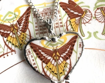 Broken china jewelry heart pendant necklace antique 1915 Art Nouveau butterfly luna moth made from a broken china plate