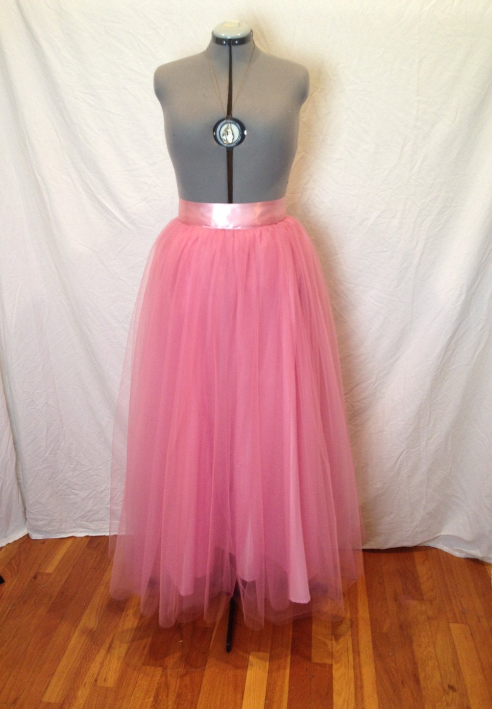 dusty pink skirt maxi tulle floor length by