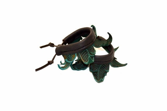 A PAIR of Green Leaf Anklet Cuffs / Teal Leather Wrap Renaissance Festival Elf Elves Fairy Pan Faerie Woodland Nymph Greenman Flair